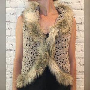 INC Fur Trim Crochet Vest